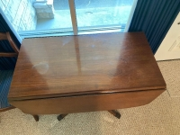 Mahogany drop leaf table with drawers - 3