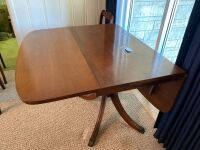 Mahogany drop leaf table with drawers - 4