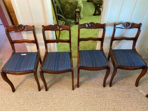4 rose back chairs with upholstered seats