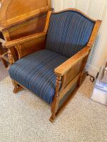 Antique wooden rocker with upholstered seat - 2