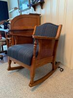 Antique wooden rocker with upholstered seat - 3