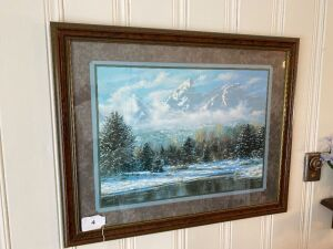 Framed nature scene print, framed eagle print