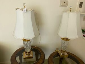 Pair of lamps with glass bases