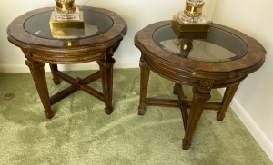 Pair of round lamp tables with glass insert