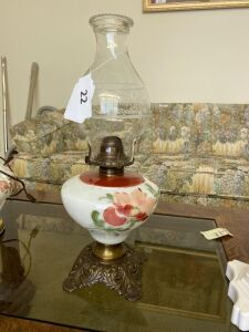 Oil lamp with painted base