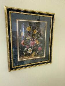 Framed floral picture