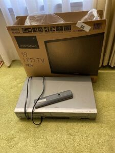 "19"" Insignia LED TV, VHS/DVD player"