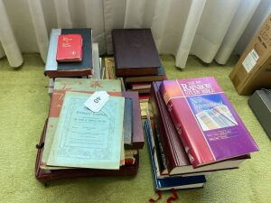 Lot of bibles, hymnals, religious books