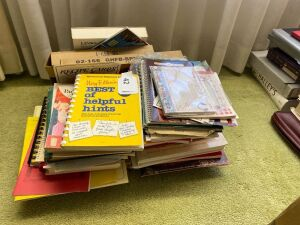 Lot of recipes books, home making books, misc