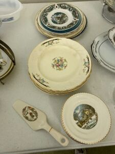 Crown Pottery plates, cake plates and server, Currier and Ives plate