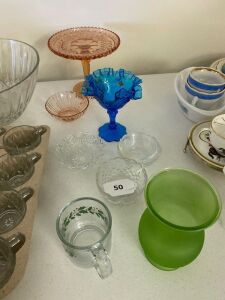 Fenton bowl, glass bowls, pink glass items
