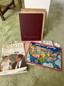 JFK magazine and book, USA puzzle