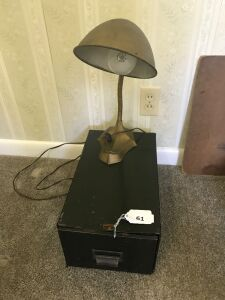 Vintage flexible gooseneck desk lamp; metal file box