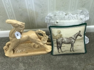 Horse statue; 2 pillows