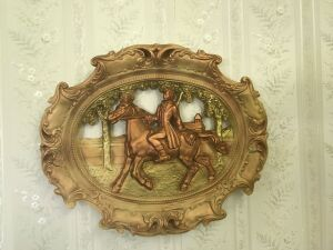 "2 Victorian style 18"" wall plaques; small framed print"