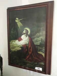 Framed Jesus print; 2 horse head plaques(1 damaged)