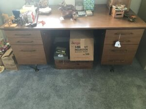 Double pedestal wood desk
