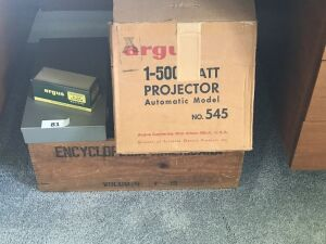 Argus projector;slide box; wood encyclopedia crate