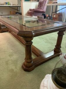 Rectangular coffee table with drop in glass tops