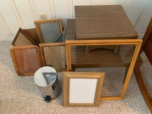 2 tier table, small pedal waste basket, & misc frames