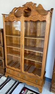 Oak antique cabinet with glass doors, 2 drawers with brass lion head pulls