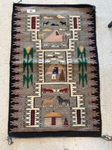Native American rug with farm scene