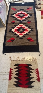 Native American rug and woven wall hanging