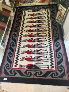 Large Native American rug with red, black, grey and cream colors