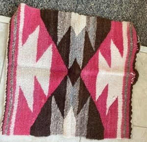 Native American rug (Has damage) and 2 woven wall hangings