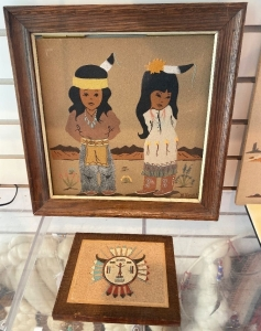 2 pieces of Native American sand art pieces