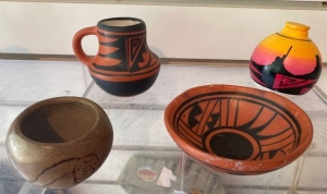 4 Native American pottery pieces some signed
