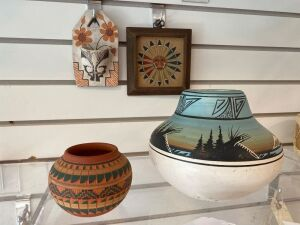 Signed Native American pottery bowl, pottery vase, sand art piece, pottery wall pocket