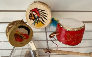 3 Native American decorative drums