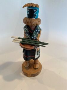 Native American signed wooden figure