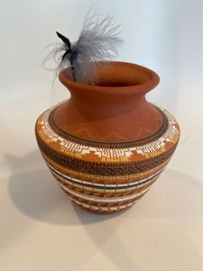 Native American pottery vase signed
