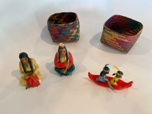 Native American figures and 2 small baskets