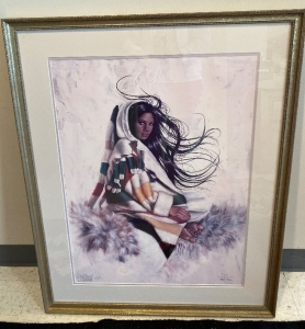 Signed Penni Ann Cross Lithograph print one frame