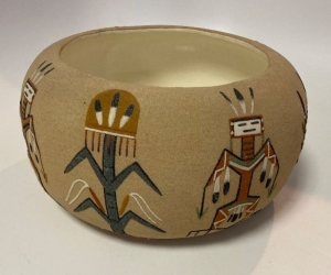 "Native American pottery bowl ""Four Sacred Plants with Thunderbird"""