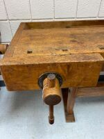 The Christiansen Co  Antique Woodworking table with 2 vises one is missing arm - 2