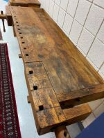 The Christiansen Co  Antique Woodworking table with 2 vises one is missing arm - 4