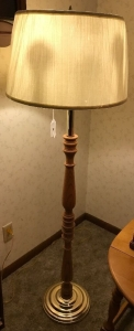"56"" wood and chrome floor lamp"