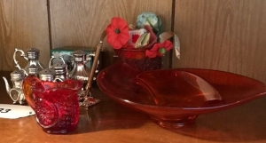 Red glass, S & P shakers, pencil sharpener