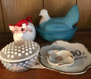 Hen on basket, pig bank and misc dishes