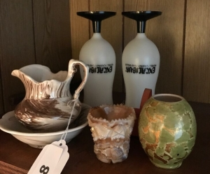 Miniature pitcher and bowl, votives and plastic drink cuos