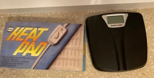Heating pad and Health O Meter scale