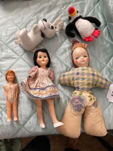 Vintage dolls (one with some damage) 2 stuffed animals