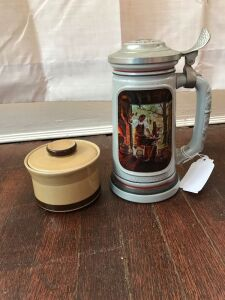 Ceramic stein and stoneware jar
