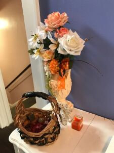 Vase, basket and candle