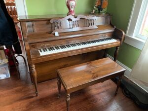 Everett Upright Piano and piano bench