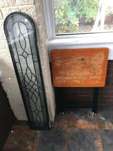 TV tray and stain glass window